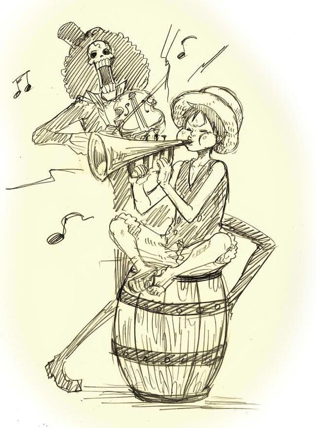 海贼王草帽海贼团有爱铅笔画,船员们一个个的都太宠溺船长路飞了