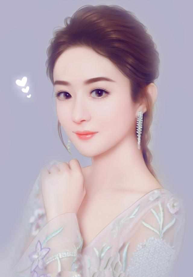 女星手绘图,赵丽颖仙气飘飘,迪丽热巴画中仙,杨颖林志玲分不清