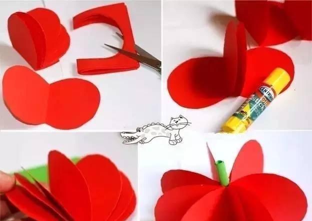 幼儿园卡纸手工立体水果教程: 苹果草莓葡萄等