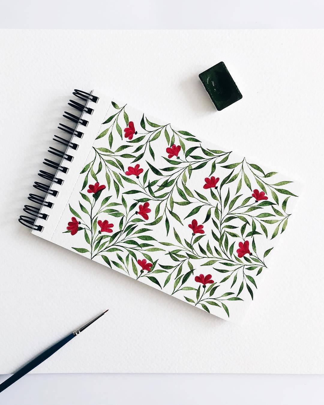 水彩手绘植物素材,手帐必备                          ins:alex.