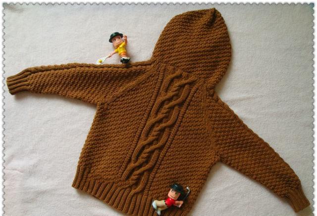 棒针编织漂亮的儿童带帽小外套毛衣,有教程图解