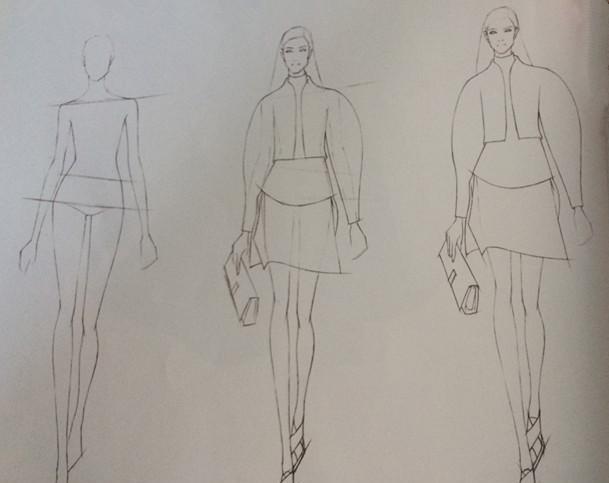 服装设计手稿-彩铅在时装画中的综合应用