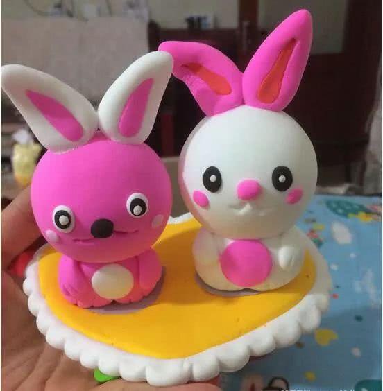 超轻粘土制作萌宠可爱的情人节情侣小兔子