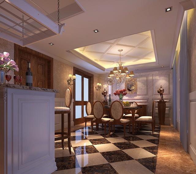 500平欧式风格,全房石膏线吊顶搭配水晶灯典雅大方郑州