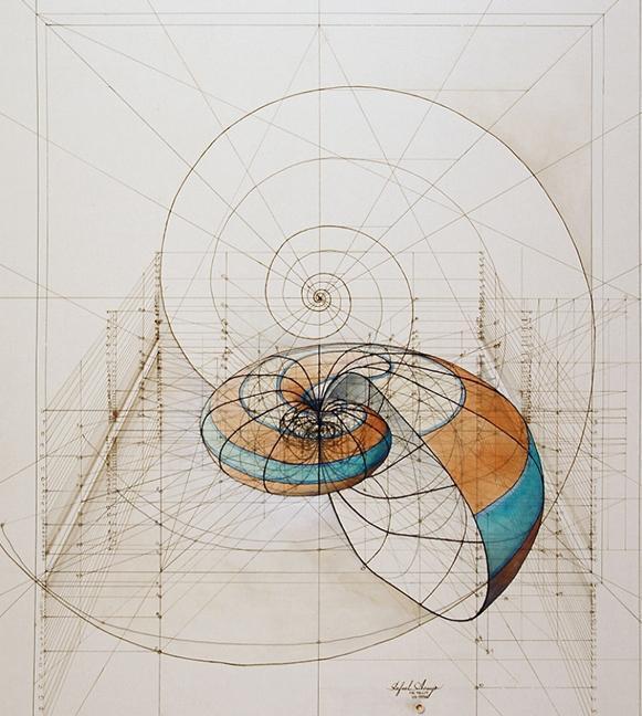 理工男用圆规,量角尺发明独特手绘画, 解密大自然中