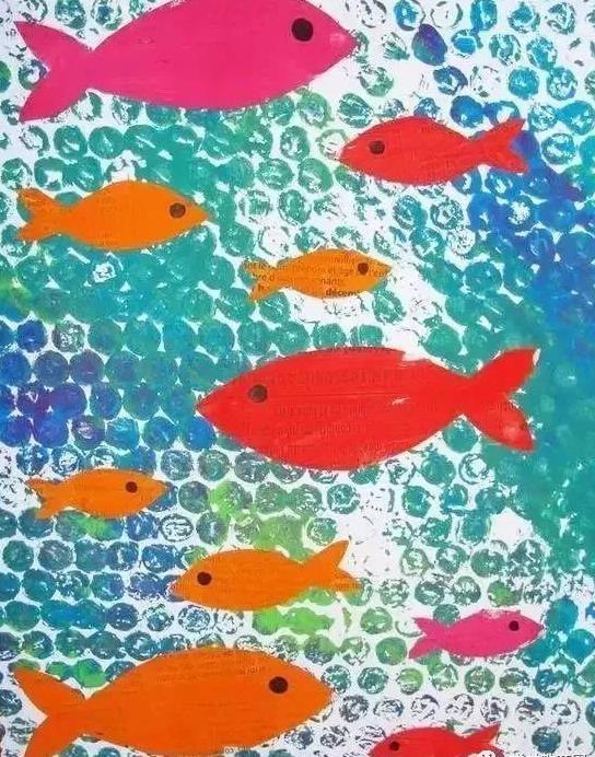 创意手工:幼儿园气泡膜创意手工绘画,厉害了!图片