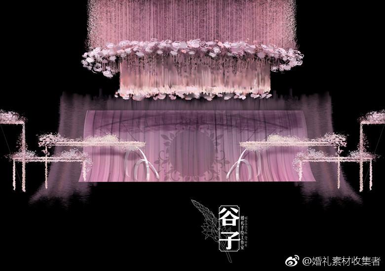 粉紫色系电脑ps手绘设计仪式区设计步骤图,分享自:@婚礼手绘师谷子