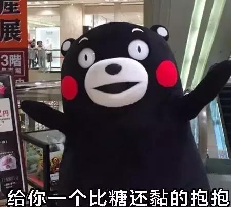 熊本熊可爱萌萌的表情,我这有糖吃哟相关v表情的表情包图片