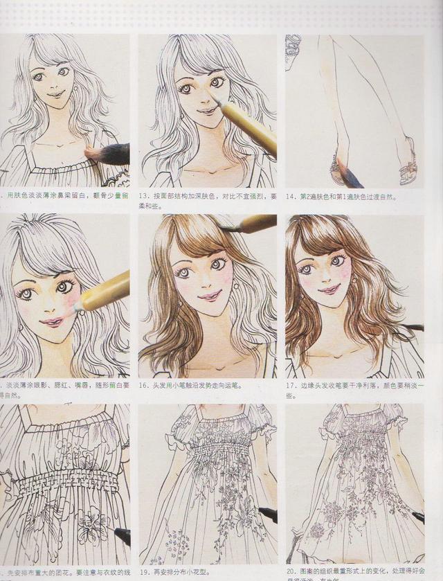服装设计手绘效果图步骤详解-高腰印花连衣裙(钢笔淡彩法)