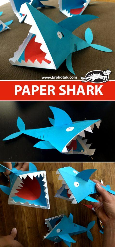 幼儿园手工——可爱立体的纸鲨鱼,制作简单