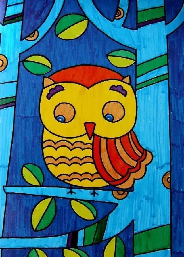 幼儿园创意美术作品:独特的艺术风格,孩子也能画出高级感!
