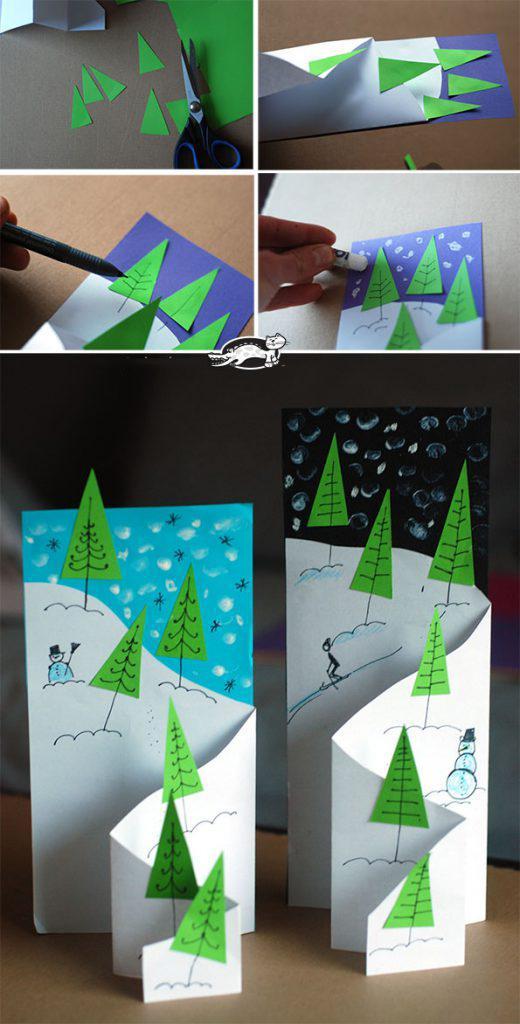 幼儿园手工——立体贺卡,那山那树那天空,简单有意境