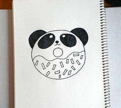 超简单的儿童简笔画,大熊猫甜甜圈!喜欢爸爸妈妈可以