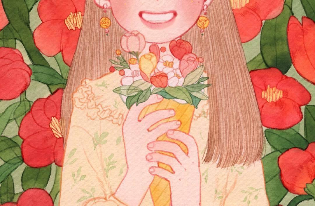 水彩 色铅笔手绘插画充满了粉色桃子味儿的女孩儿呀~插画来自作者in