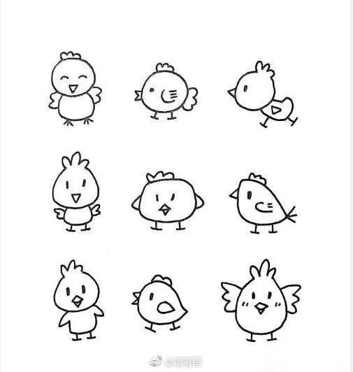 一组萌萌哒的简笔画小动物,马住慢慢画