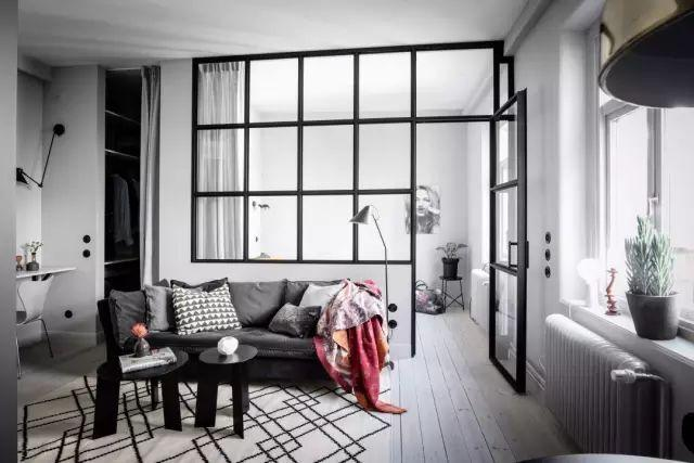 38平黑白灰小户型公寓,都市女白领的格调小窝