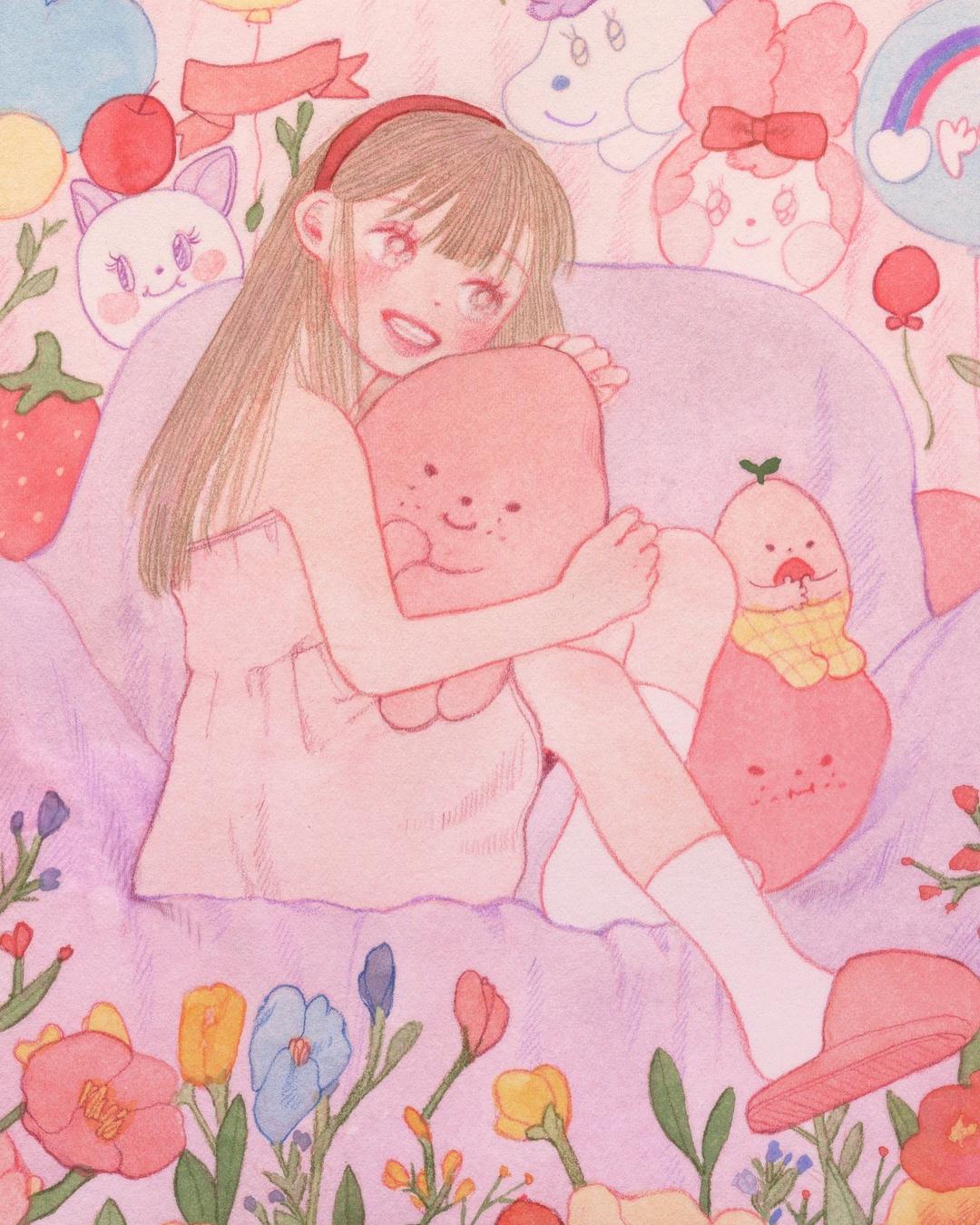 水彩+色铅笔手绘插画充满了粉色桃子味儿的女孩儿呀~插画来自作者in