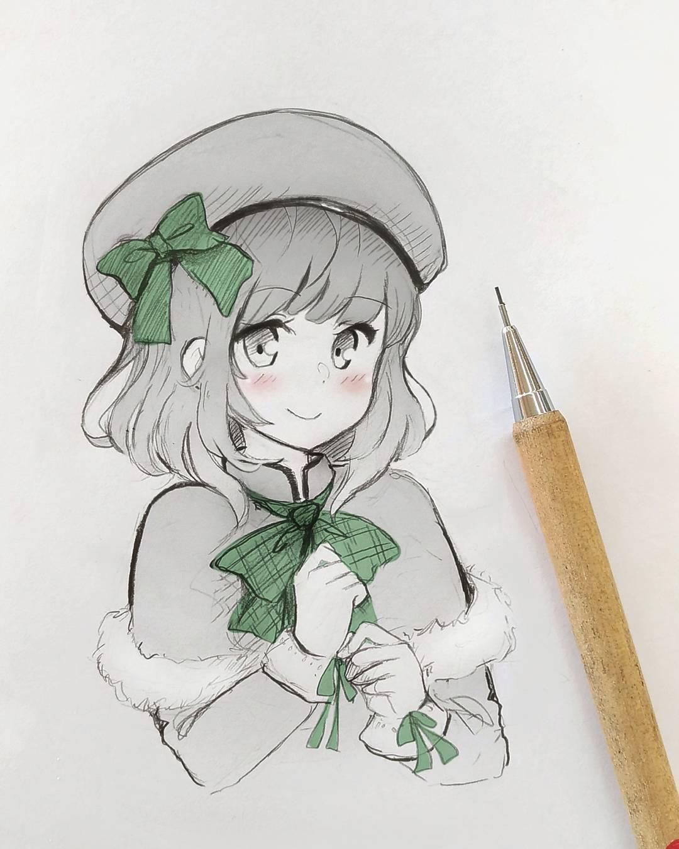 自动铅笔手绘动漫少女