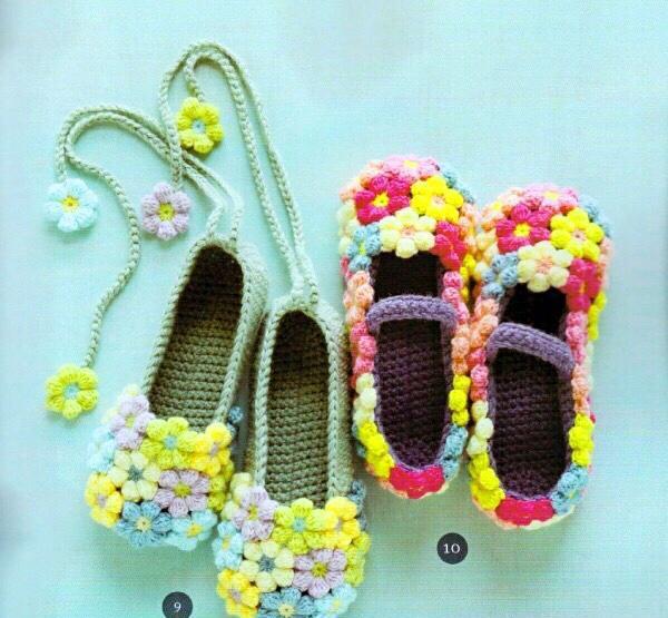 2款花样的钩针编织地板鞋
