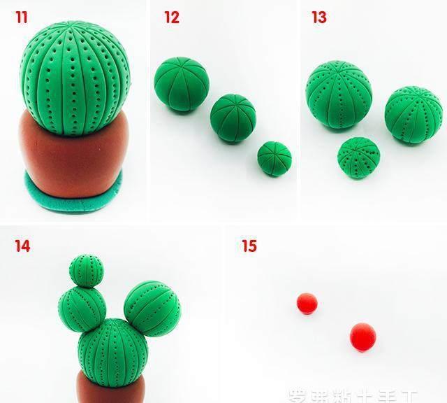 罗弗超轻粘土的仙人掌植物制作教程图解!