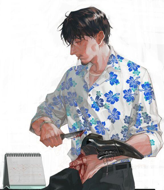 手绘大叔头像,韩国画师chongtak作品