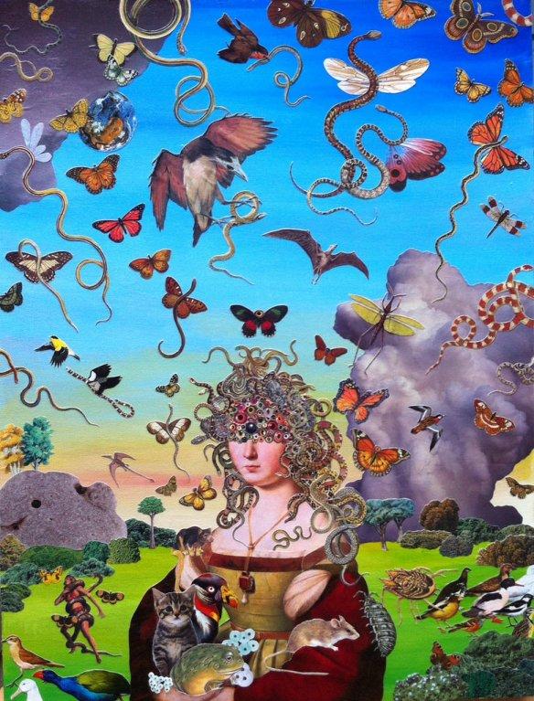 艺术家的拼贴画从视觉上描绘了全球化的世界