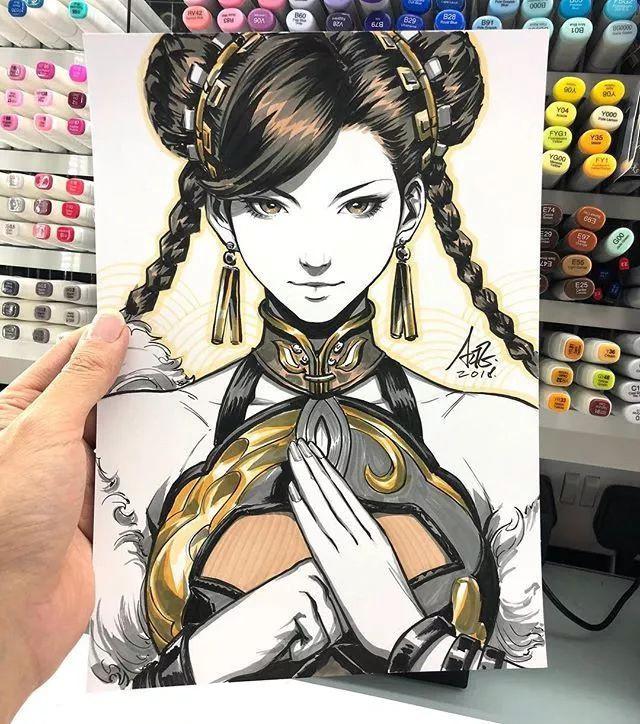 马克笔手绘动漫人物,出自新加坡华裔漫画大神artgerm