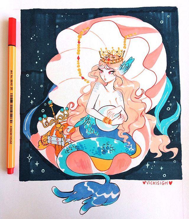 马克笔手绘美人鱼系列,来自ins:vickisigh,画风温柔又
