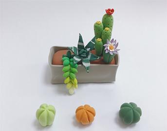 手工粘土|一盆粘土仙人掌教程,超级简单,放在家里真好看!