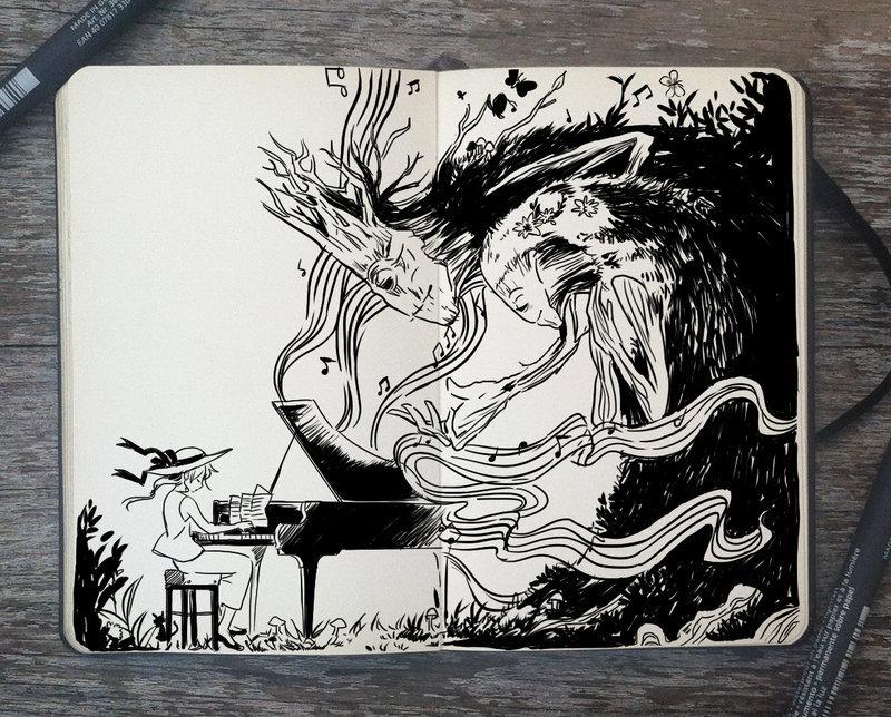 一组黑白手绘插画 丨巴西插画师 picolo kun