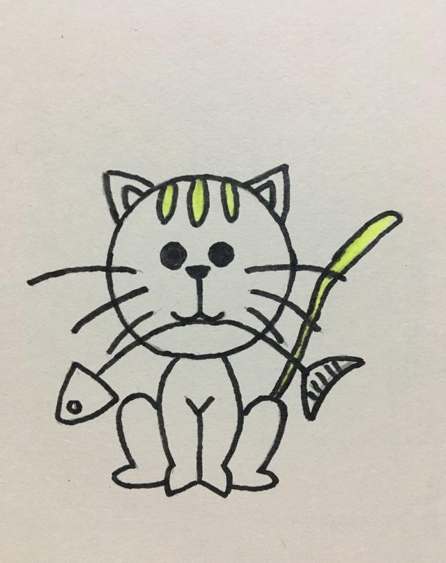 简笔画——嘴里叼着鱼的小猫咪