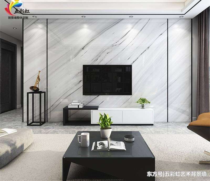 2,现代简约大理石纹电视背景墙装修效果图
