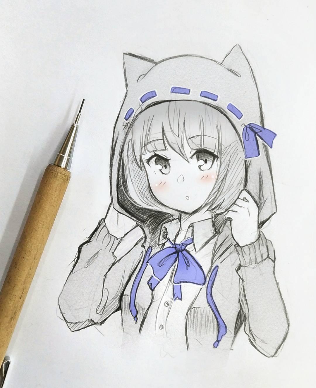 自动铅笔手绘动漫少女,加一点马克笔上色点缀画面就不会单调啦~画师