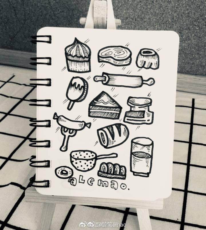 一组食物主题简笔画手绘素材(by:插画师lemao)