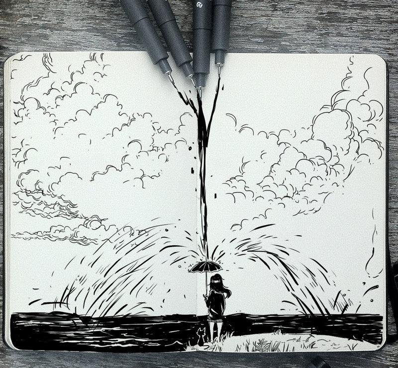 一组黑白手绘插画 丨巴西插画师 picolo kun_新浪看点