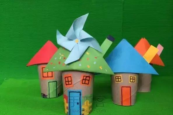 小小传承人:5款幼儿园手工制作简单的卡通小房子图片