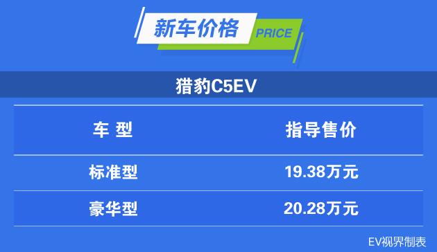 猎豹C5EV上市 补贴前19.38万元起 综合工况续航250km