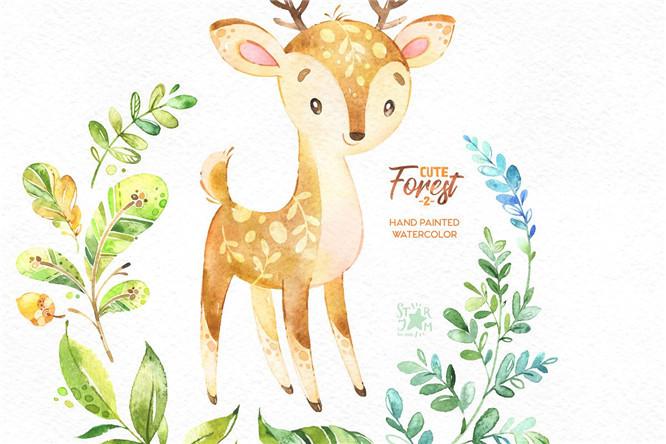 文艺卡通植物花卉可爱手绘动物树叶花环png免抠设计素材更多详情>>>