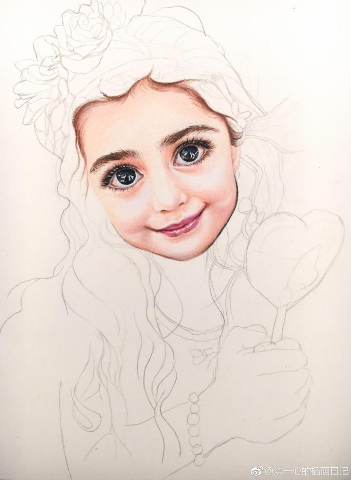 彩铅手绘最美小女孩作者: 三福霹雳马72色获多福细纹水彩纸