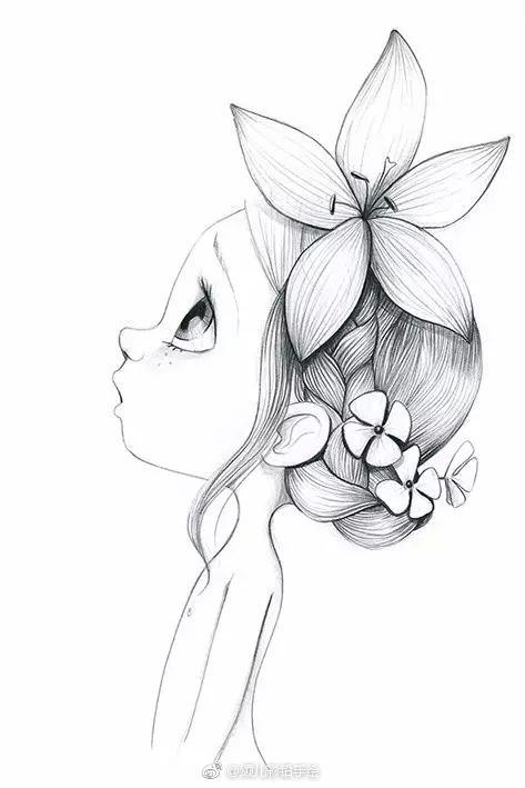 铅笔画小小可爱*^o^*的女孩儿  .法国艺术家emmanuelle colin