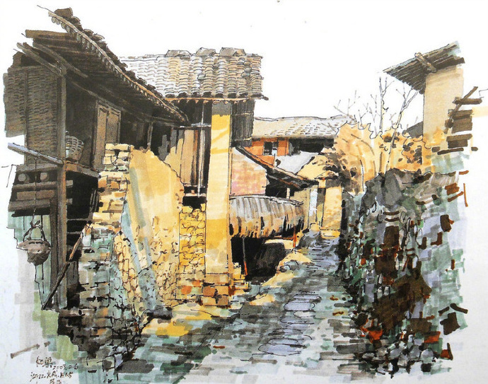 马克笔村落建筑手绘|夏克梁