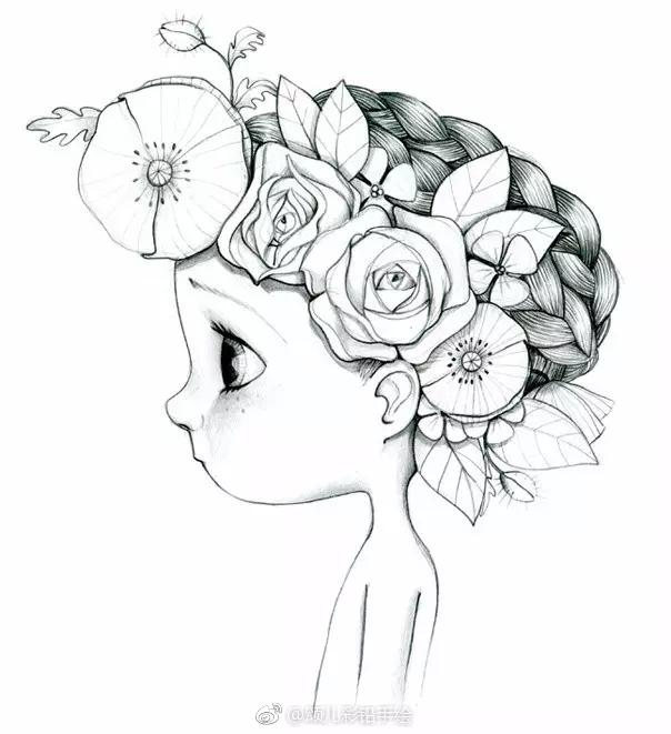 铅笔画小小可爱*^o^*的女孩儿 |.法国艺术家emmanuelle colin