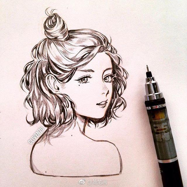 针管笔手绘小姐姐(by:clivenzu)