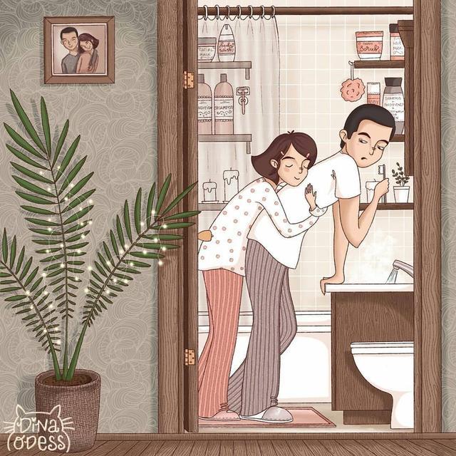 「情侣插画背景图」情侣甜蜜日常