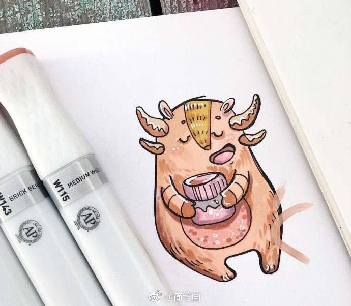 一组可爱的马克笔手绘小怪物 (ins:ann.kur)
