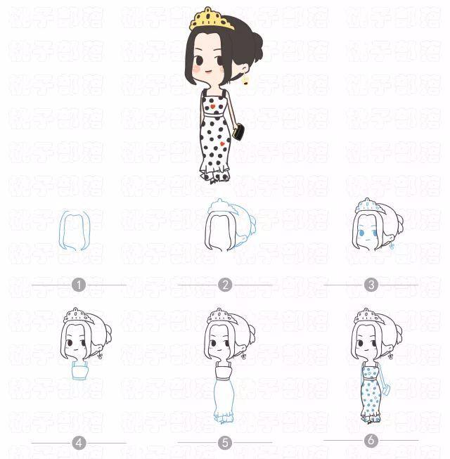 【绘画教程】q版简笔画迪丽热巴,又美又萌!图片