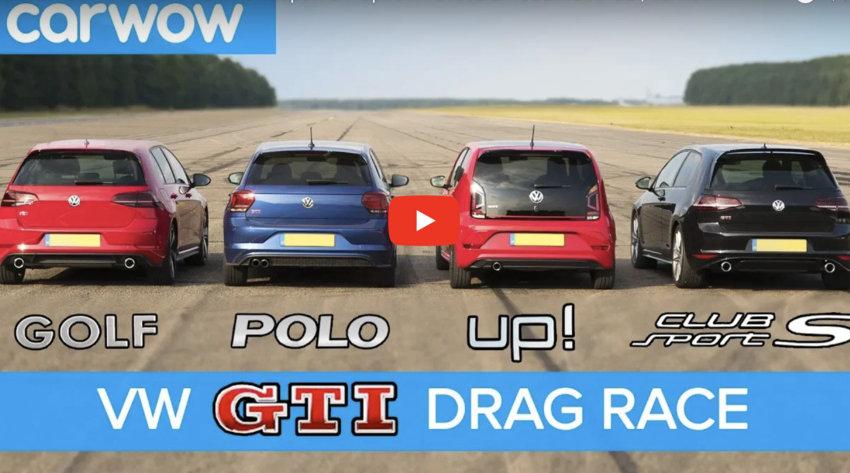 将大众所有GTi车型放在一起进行一场直线加速对比,车型包括高尔夫GTi...