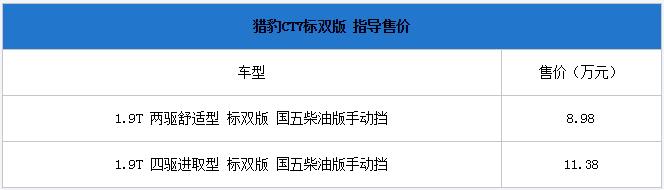 新款猎豹CT7标双版正式上市 售价8.98-11.38万元