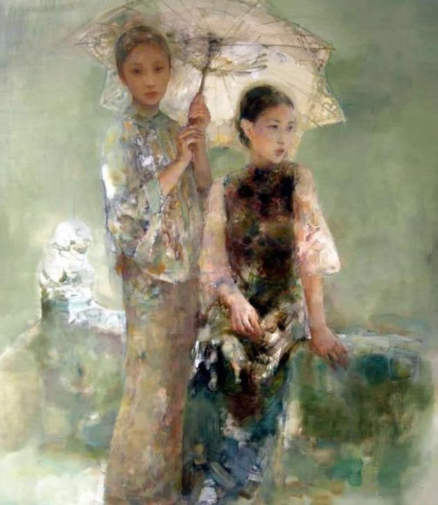 中国画式的写意:胡峻涤油画人物作品选图片