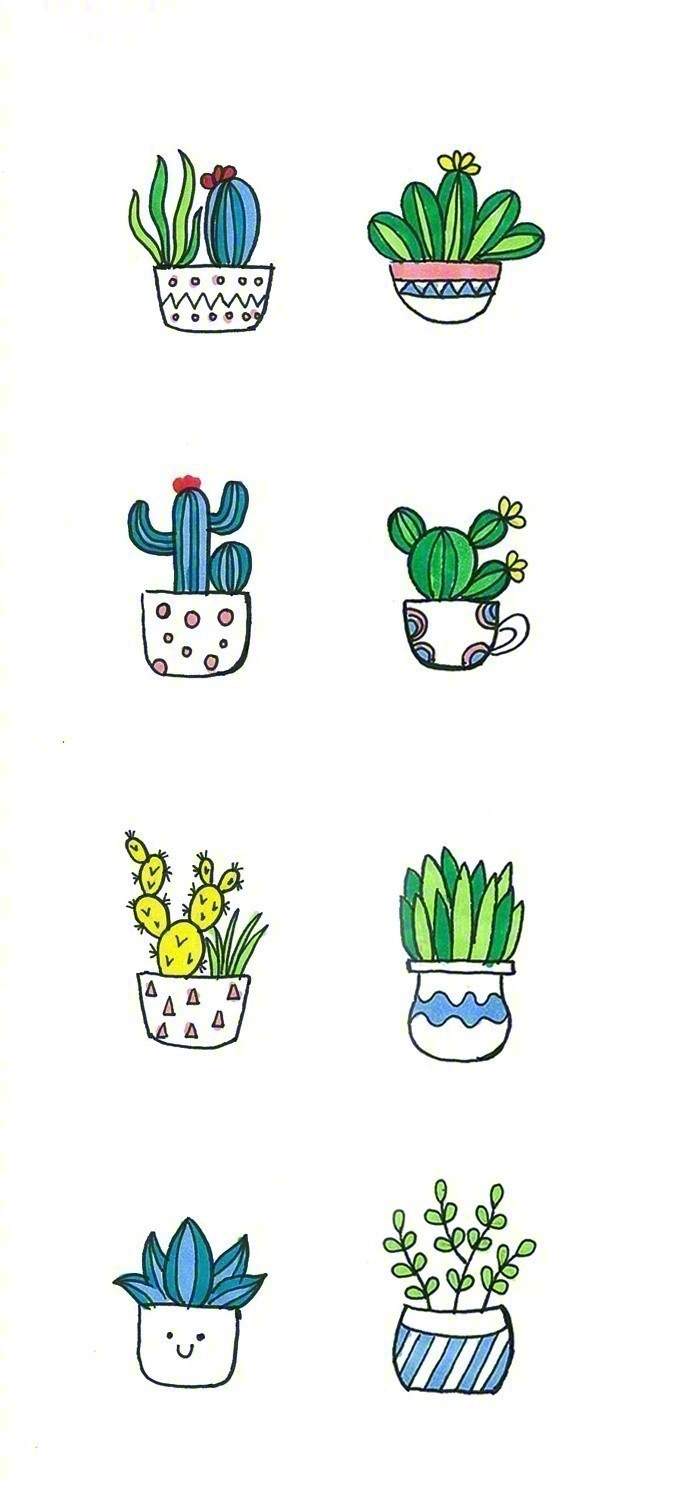 一波非常萌小盆栽手绘简笔画,可爱又简单的!